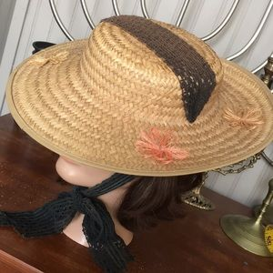 Derby flat boater tilt wide Brim Straw Ribbon hat